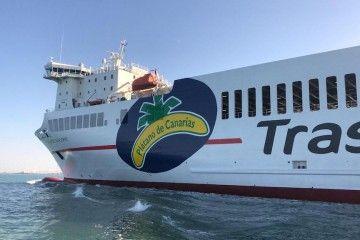 """El buque """"Villa de Tazacorte"""", a su llegada esta tarde al puerto de Cádiz"""