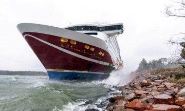 """El ferry """"Viking Grace"""" en la posición en la que se encuentra"""