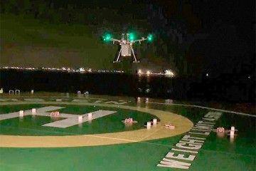 El drone se posa en la cubierta de un buque