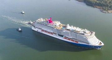 """El nuevo buque """"Mardi Gras"""", en pruebas de mar"""