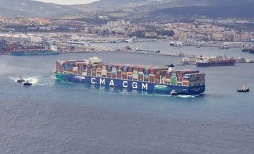 """El buque """"CGM CMA Jacques Saadé"""", en su primera escala en Algeciras"""