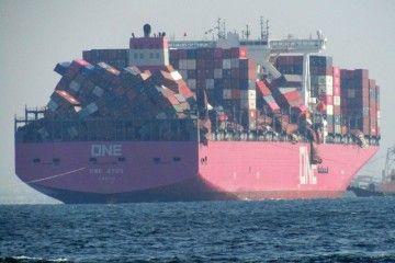 """Los efectos de la tormenta en el buque """"One Apus"""" impresionan"""