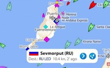 Posición del buque nuclear ruso a las 10,30 UTC