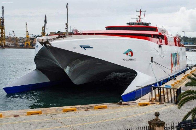 """El catamarán """"HSC Ártemis"""", a su llegada a Malta"""