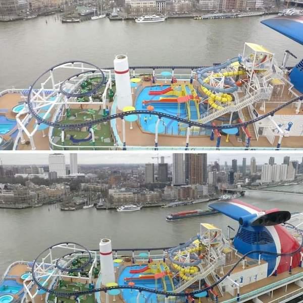 La montaña rusa Bolt, uno de los atractivos del nuevo buque