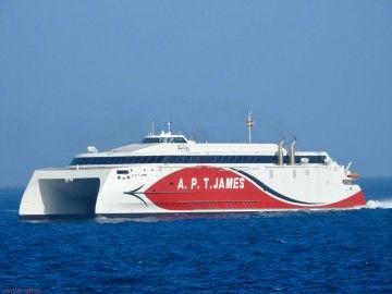 """El catamarán """"APT James"""", a su llegada a Las Palmas de Gran Canaria"""
