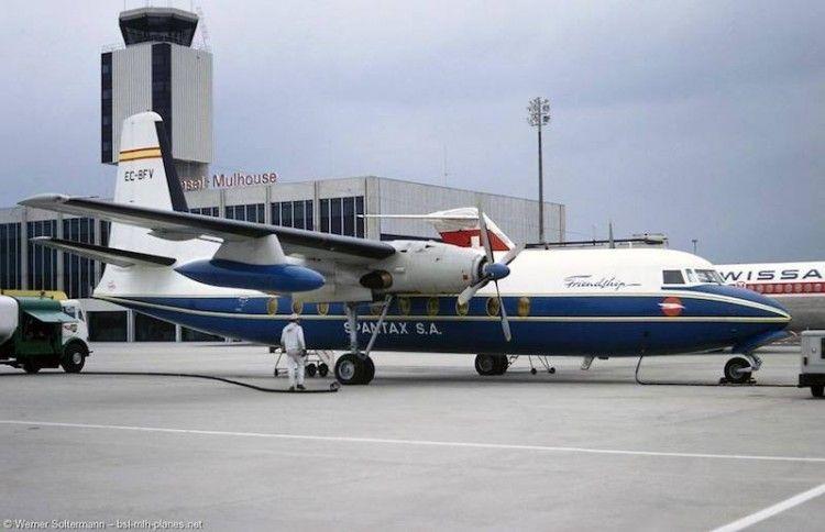 El primer avión Fokker F-27 de Spantax, en Alemania