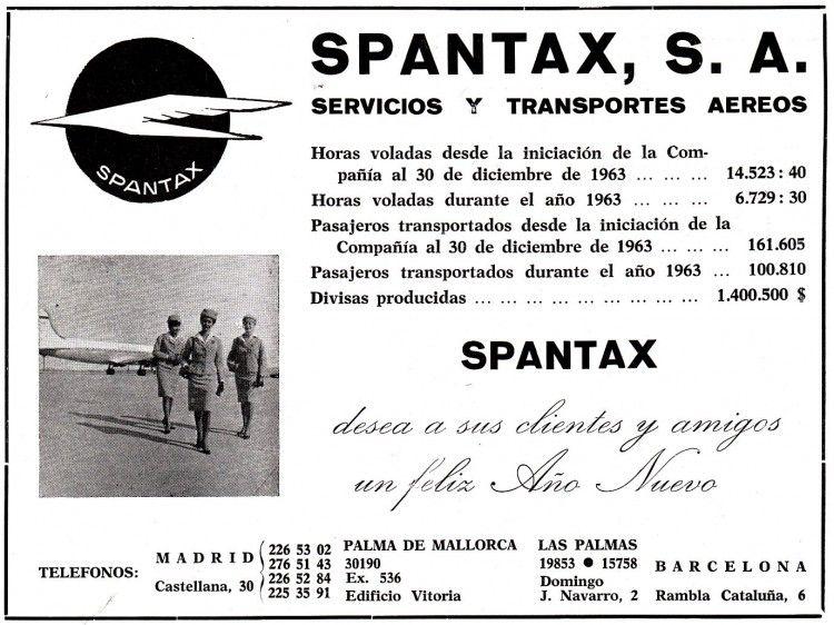 Anuncio publicitario de Spantax (enero de 1964)
