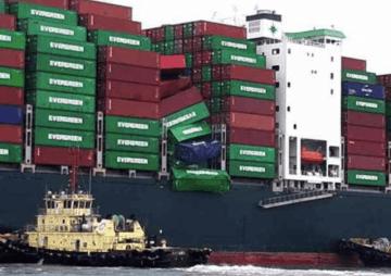 Detalle parcial de las filas afectadas del buque de Evergreen