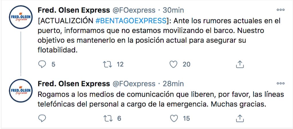 Los dos últimos tweets de Fred. Olsen