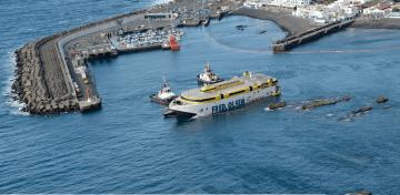 """Posición que presentaba ayer tarde el catamarán """"Bentago Express"""""""