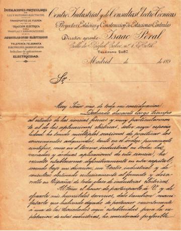 Carta de Isaac Peral en su empeño por el fomento de la electricidad