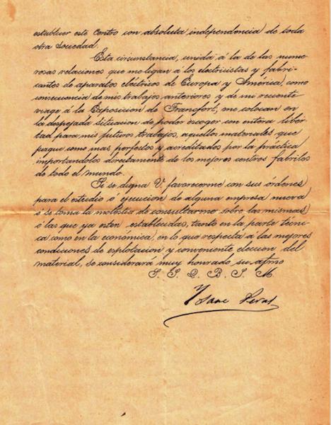 Reverso de la carta de Isaac Peral (1891)