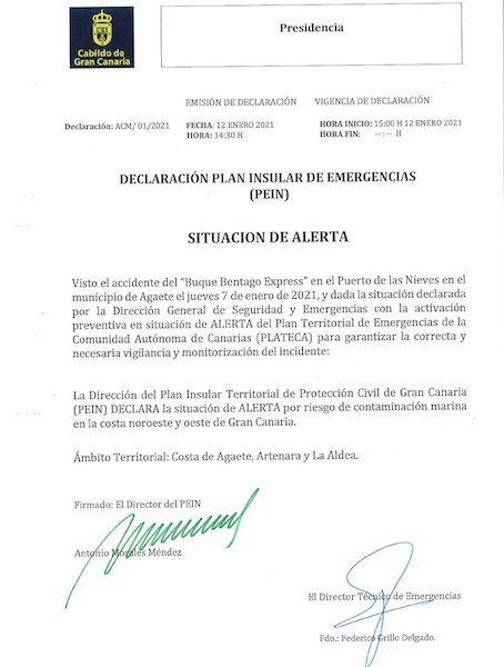 Orden de declaración preventiva del Cabildo de Gran Canaria
