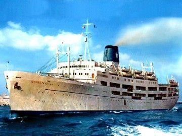 """Estampa marinera del trasatlántico italiano """"Sydney"""""""