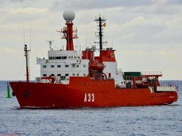 """El BIO """"Hespérides"""", a su llegada al puerto de Las Palmas"""