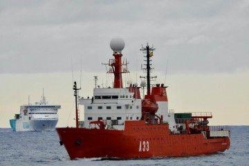 """El BIO """"Hespérides"""" (A33), a su llegada ayer al puerto de Las Palmas de Gran Canaria"""