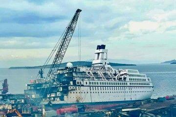 """Estado en el que se encuentra el desguace del buque """"Astor"""""""