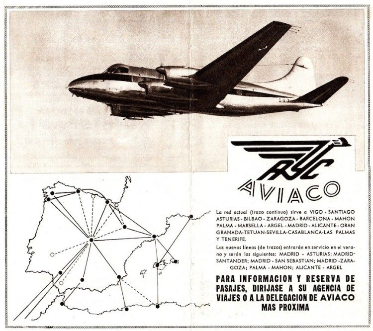 Mapa de rutas de AVIACO a la incorporación de la flota DH.114 Heron 2