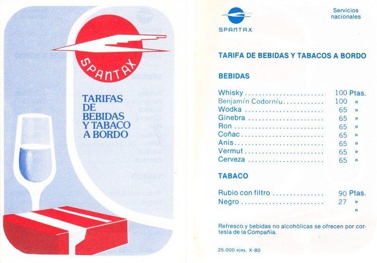 Tarifas del servicio a bordo de Spantax en vuelos nacionales (1980)