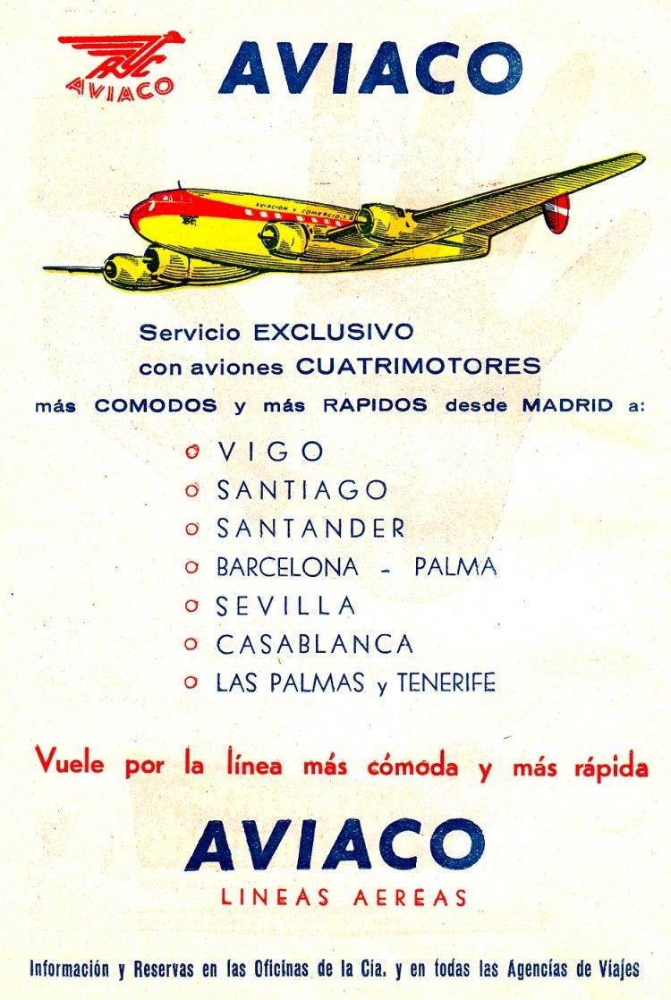 Oferta de AVIACO a comienzos de los años 50