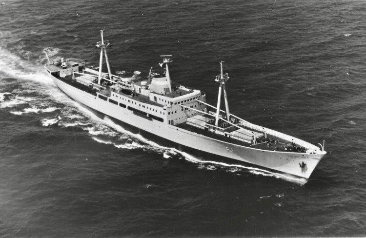 """El buque frigorífico """"Tropicana"""", en sus pruebas de mar (1962)"""