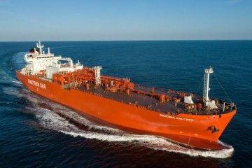 """El buque metanero """"Ravenna Knutsen"""", en pruebas de mar"""