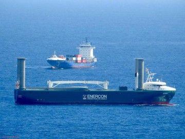 """El buque de rotores """"E-Ship 1"""", a su llegada a Las Palmas de Gran Canaria"""