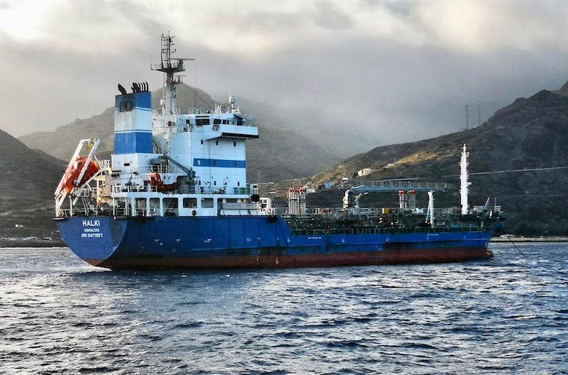 """El petrolero """"Halki"""", de la compañía griega Aegean"""