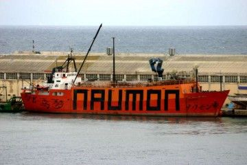 """El buque-teatro """"Naumon"""", en una de sus etapas"""