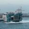 Momento en el que se procede el golpe contra el muelle del puerto de El Musel