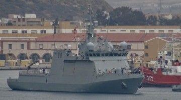 """El BAM """"Furor"""", a su salida del arsenal de Cartagena"""