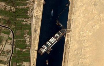 """Situación inicial en la que se encontraba el buque """"Ever Given"""""""