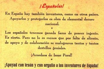 Cartulina impresa exhortando apoyo a los inventores de España