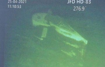 La vela del submarino, captada por la cámara del vehículo ROV