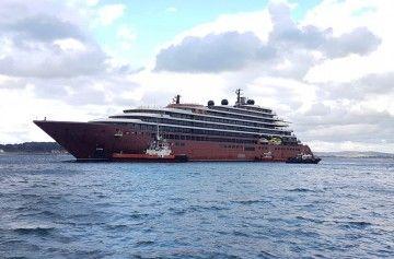 """El remolque del buque """"Evrima"""", a su llegada a Santander"""
