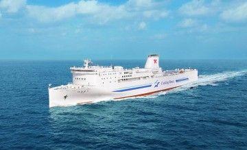 Estilizada figura de los nuevos buques ropax de TKF