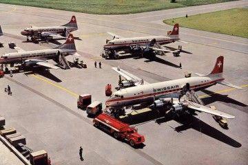 Los dos aviones Douglas DC-6B adquiridos con un préstamo de la Confederación Helvética