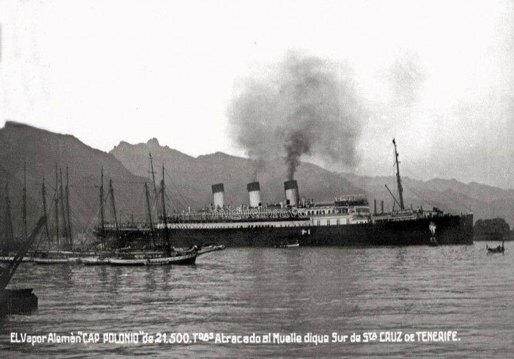 """El trasatlántico alemán """"Cap Polonio""""·, en su primera escala en Santa Cruz de Tenerife"""