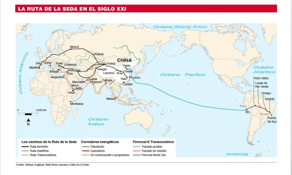 Mapa de la ruta de la seda del siglo XXI
