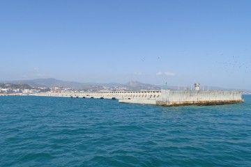 Panorámica del dique de levante del puerto de Málaga