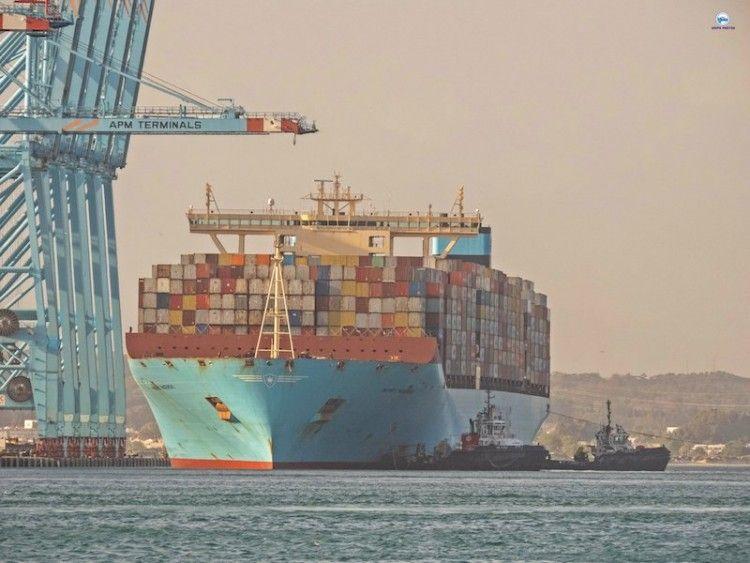 """El buque Triple E """"Mary Maersk"""", en APM Terminals de Algeciras"""