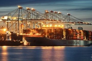 """Buque """"Marstal Maersk"""" operando en la terminal APM de Algeciras"""