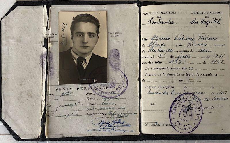 Primera libreta de navegación de Alfredo Bilbao Ríoseco