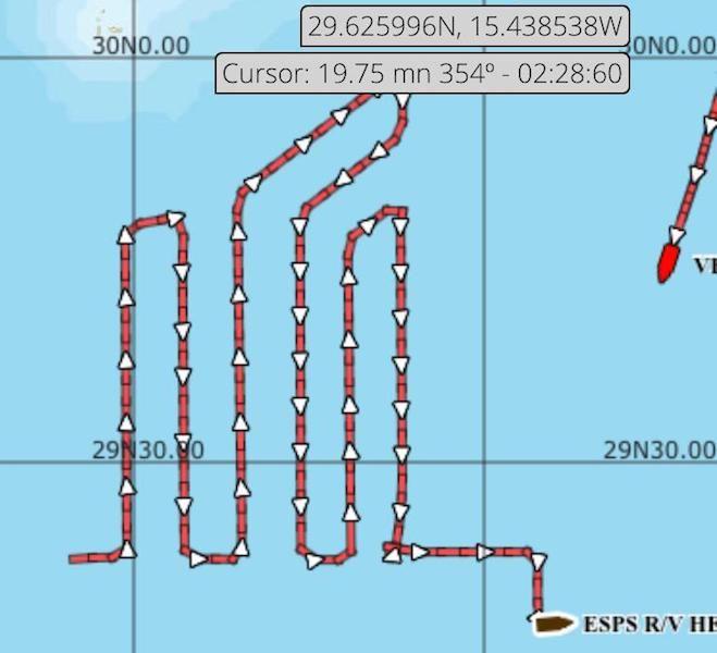 """Track del BIO """"Hespérides"""" al sur de las Islas Salvajes"""