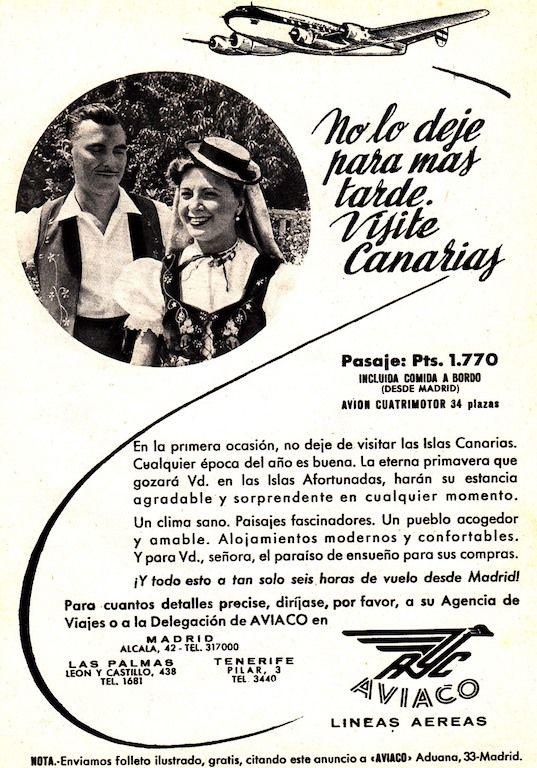 Anuncio publicitario de Aviaco en la década de los años cincuenta