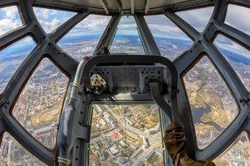 Campo de visión desde el morro acristalado de un avión Il-76 MD de la Fuerza Aérea de Rusia