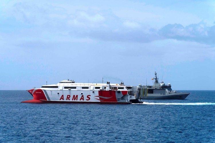 """Marsec-21, organizado por la Armada, tuvo como protagonista al catamarán """"Volcán de Tirajana"""""""