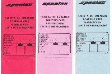 Tarjetas de embarque de Spantax en los años 80