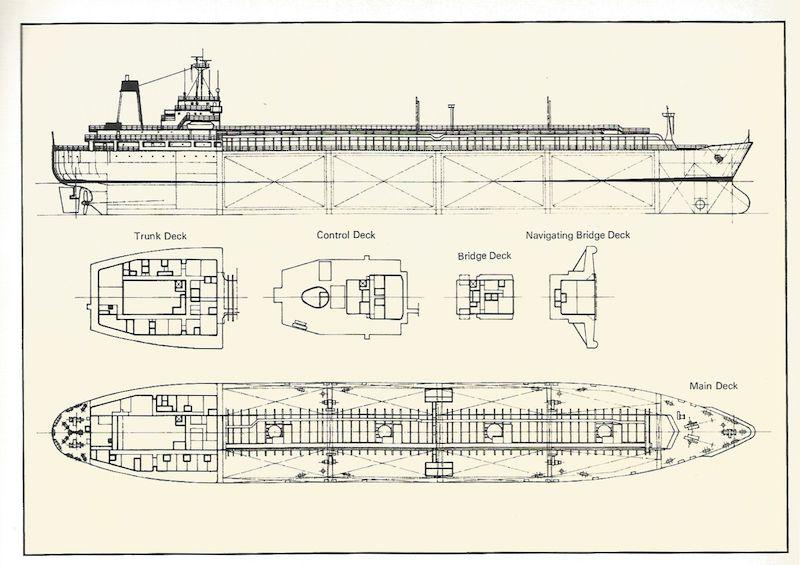 """Planos de disposición general del buque metanero """"Laietá"""""""